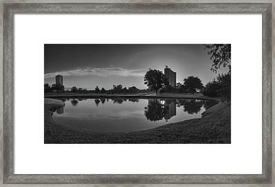 Hermann Park Sunrise Black And White Framed Print