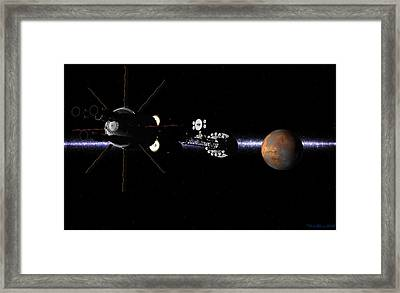 Framed Print featuring the digital art Hermes1 In Sight Of Mars by David Robinson
