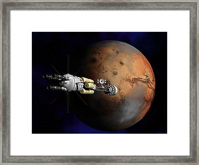 Framed Print featuring the digital art Hermes1 Orbit Insertion by David Robinson
