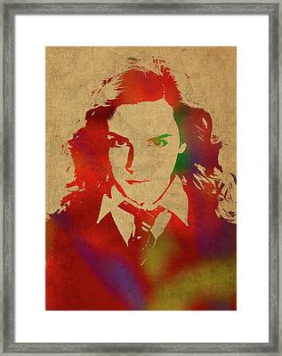 Hermione Granger From Harry Potter Watercolor Portrait Framed Print by Design Turnpike