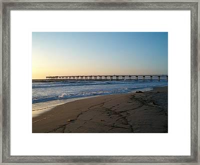 Hermosa Beach Pier At Sunset Framed Print by Mark Barclay