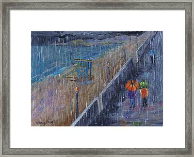 Framed Print featuring the painting Hermosa Beach Rain by Jamie Frier