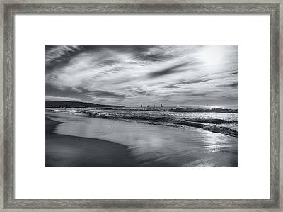 Hermosa Evening Black And White Framed Print