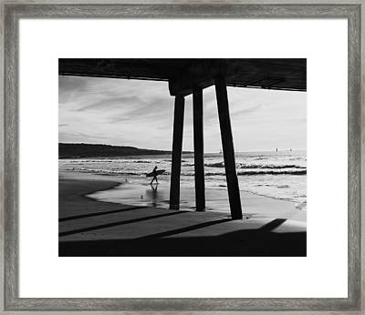Hermosa Surfer Under Pier Framed Print