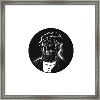 Hernan Cortes Conquistador Woodcut Framed Print