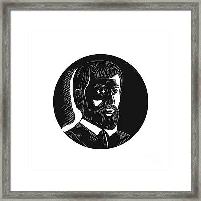 Hernando De Soto Explorer Circle Woodcut Framed Print