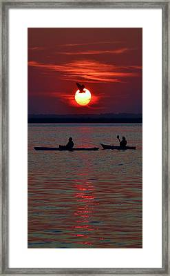 Heron And Kayakers Sunset Framed Print