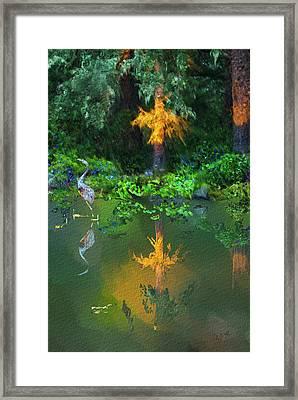 Framed Print featuring the digital art Heron Art by Dale Stillman