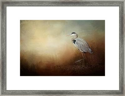 Heron At The Inlet Framed Print