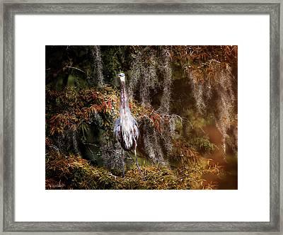 Heron Camouflage Framed Print