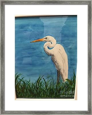 Framed Print featuring the painting Heron by Donald Paczynski