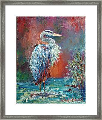 Framed Print featuring the painting Heron In Color by Phyllis Howard
