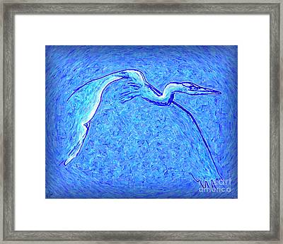 Framed Print featuring the photograph Heron In Flight by Walt Foegelle