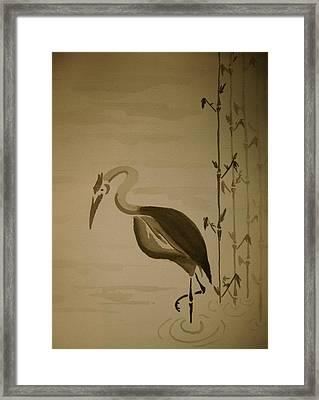 Heron In Sumi-e Framed Print by Jeff DOttavio