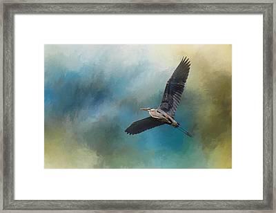 Heron In The Midst Framed Print
