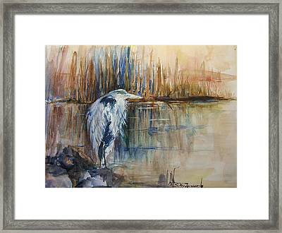 Heron In The Reeds 1 Framed Print by Sukey Watson