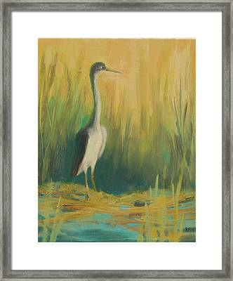 Heron In The Reeds Framed Print by Renee Kahn