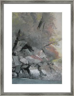 Heron Lake Winter Glow Framed Print by Anita Stoll
