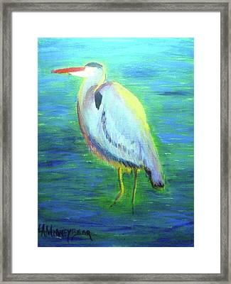 Heron Framed Print by Lauren Mooney Bear