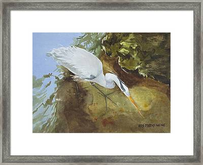 Heron Under The Bridge Framed Print by Kris Parins