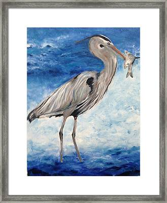 Heron With Fish Framed Print