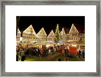 Herrenberg Christmas Market At Night Framed Print by Greg Dale