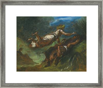 Hesiod And The Muse Framed Print by Eugene Delacroix