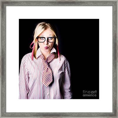 Hesitant Uncertain Smart Business Girl On Black Framed Print