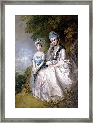 Hester Countess Of Sussex And Her Daughter Lady Barbara Yelverton  Framed Print