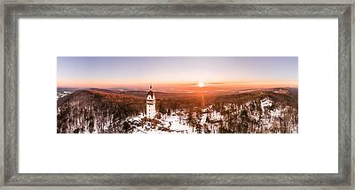 Heublein Tower In Simsbury Connecticut, Winter Sunrise Panorama Framed Print
