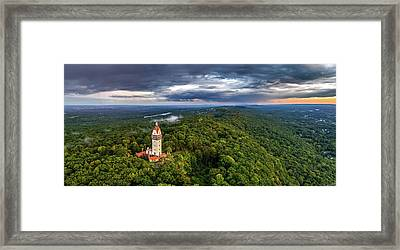 Heublein Tower In Simsbury Ct, Stormy Sunset Aerial Panorama Framed Print