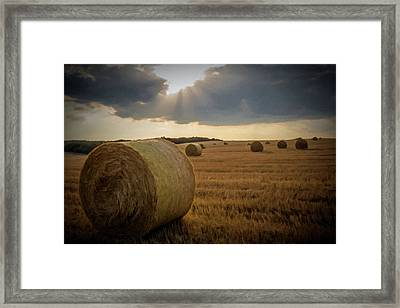 Framed Print featuring the photograph Hey Bales And Sun Rays by David Dehner