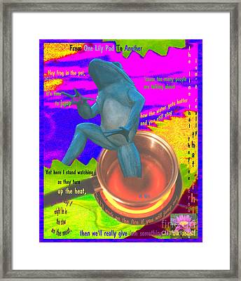 Hey Froggie - From One Lily Pad To Another Framed Print
