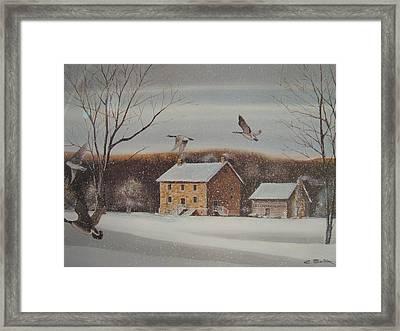 Hezakeiah Alexander House Winter Framed Print by Charles Roy Smith