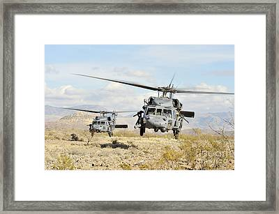 Hh-60g Pave Hawk Helicopters Land Framed Print by Stocktrek Images
