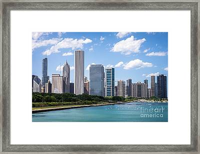 Hi-res Picture Of Chicago Skyline And Lake Michigan Framed Print by Paul Velgos