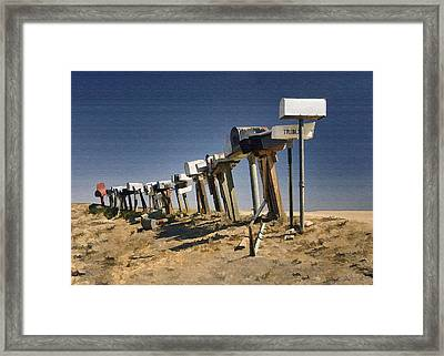 Hi-way 41 Mailboxes Framed Print by Sharon Foster