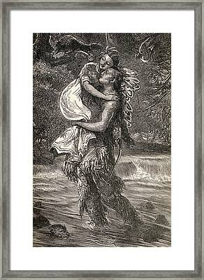Hiawatha And Minnehaha Framed Print by Unknown