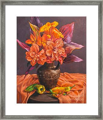 Hibiscus And Cannas In Balinese Jug Framed Print by Fiona Craig