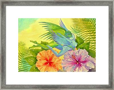 Hibiscus Faeries Framed Print by Jennifer Baird