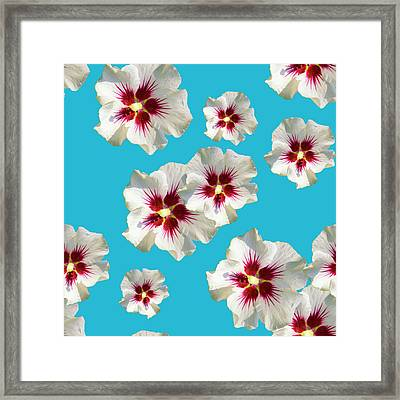 Framed Print featuring the mixed media Hibiscus Flower Pattern by Christina Rollo