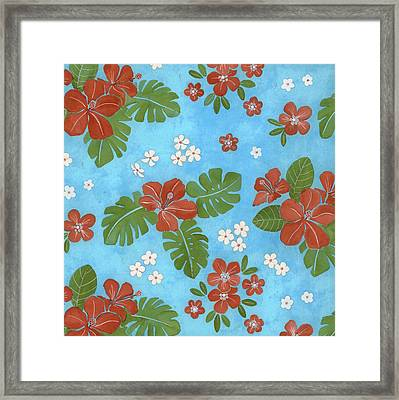 Hibiscus Flowers And Leaves Framed Print