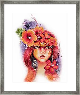 Framed Print featuring the drawing Hibiscus by Sheena Pike