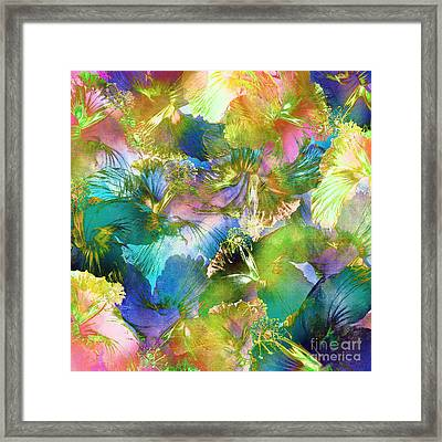 Framed Print featuring the digital art Hibiscus Trumpets by Klara Acel