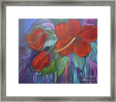 Hibiscus Whimsy Framed Print