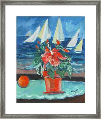Hibiscus With An Orange And Sails For Breakfast Framed Print by Betty Pieper