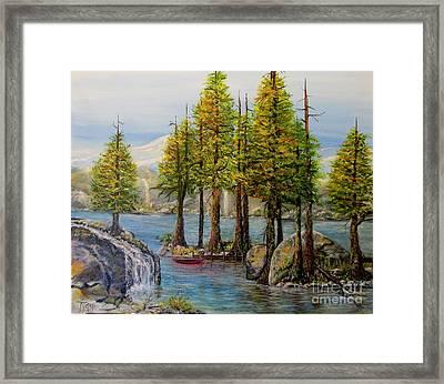 Hidden Alpine Lake Framed Print by John Garland Tyson