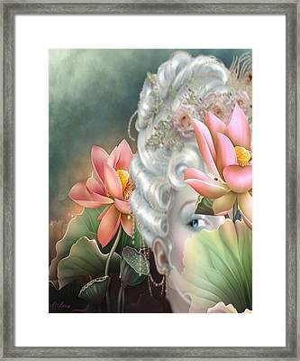Hidden Among The Lotus Framed Print by G Berry