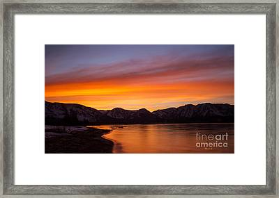 Hidden Beach Sunset Framed Print by Mitch Shindelbower