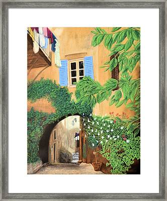 Hidden Cafe Framed Print by Jan Amiss